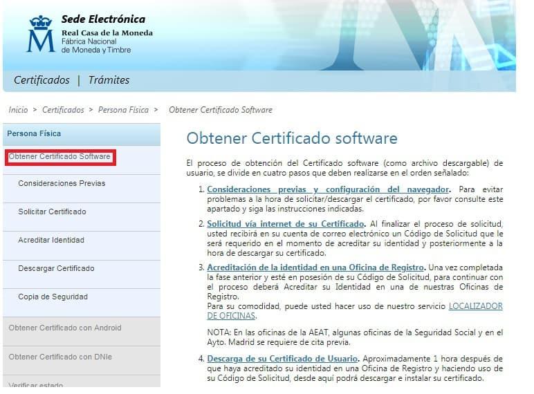 paso 1 Cómo obtener certificado digital de persona física.