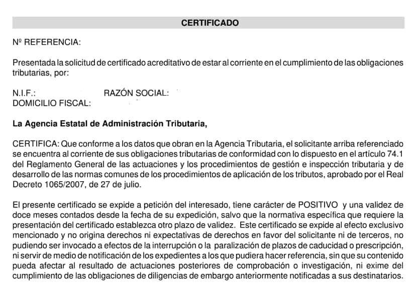 certificado Certificado de estar al corriente de pagos - Agencia Tributaria