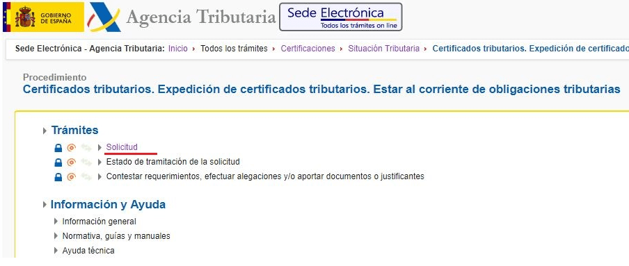 cinco Certificado de estar al corriente de pagos - Agencia Tributaria
