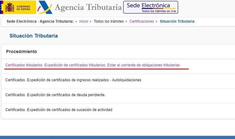 cuarro Certificado de estar al corriente de pagos - Agencia Tributaria