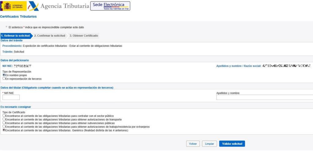nue Certificado de estar al corriente de pagos - Agencia Tributaria