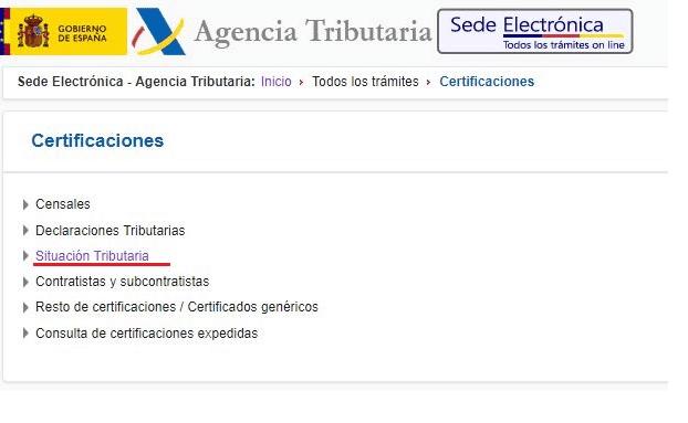 tres Certificado de estar al corriente de pagos - Agencia Tributaria
