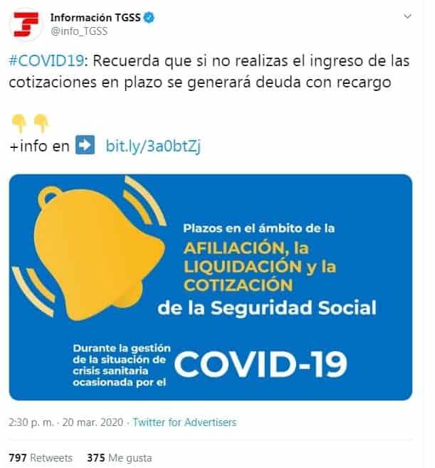 twiter seguridad social Aplazamiento y moratoria de Seguridad Social para empresas y autónomos